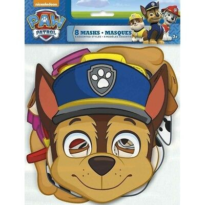 Paw Patrol 8 Paper Face Masks Birthday Party 4 designs Skye](Paw Patrol Masks)