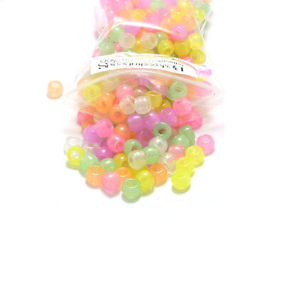 100 Assorted Color 8mm x 6mm Glow in The Dark Large Hole Plastic Pony Beads