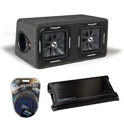 """Kicker Car Audio Loaded Dual 12"""" Ds12 Solobaric L7 Sub Speaker Box Zx1500.1 Amp"""