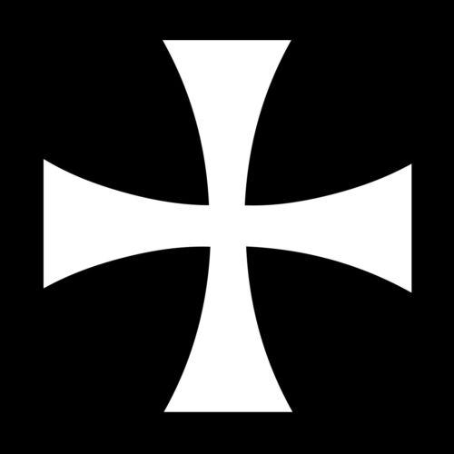 Teutonic Cross Masonic Vinyl Decal - White 6 Inch