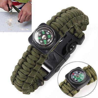 Survival Camo Parachute Cord Bracelet Flint Accessories  Compass Whistle Gear