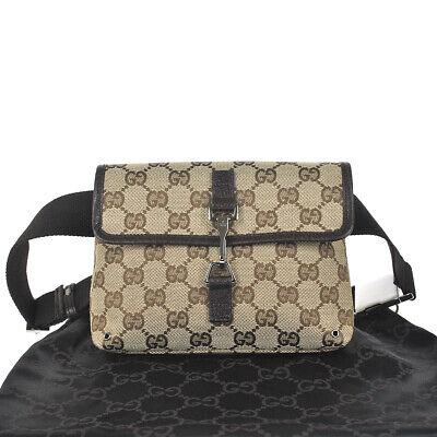 P49 GUCCI Authentic Waist Pouch Bumbag Belt Bag Fanny Pack Brown Beige Vintage