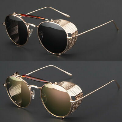 Mens Gold Vintage Retro Steampunk Gothic Side Shield Hipster Round Sunglasses (Sunglasses Gold Sides)