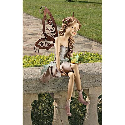 Angelic Pixie Fairy Sitting Statue Garden Window Ledge Sculpture