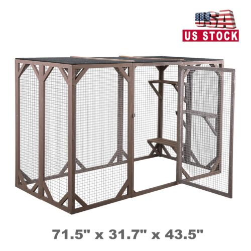 "Large Wooden Outdoor Cat Enclosure Catio Cage w/3 Platforms Cat Run House 43.5""H"