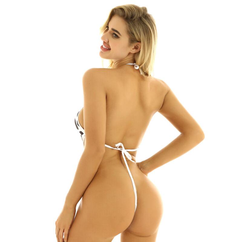 Girls wearing suspender bikinis