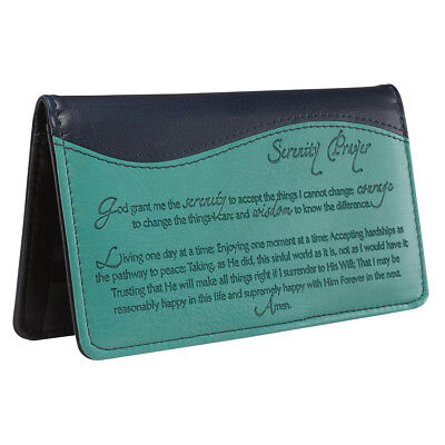 Checkbook Cover Serenity Prayer Turquoise/Navy Blue Faux Leather BRAND NEW Blue Simulated Leather Cover