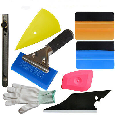 (Auto Graphics Decal Wrapping Tools Kit Blue Squeegee Knife Glove Application USA)