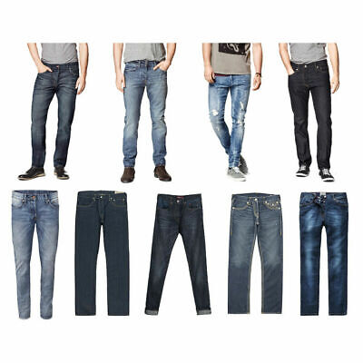 Mens Levis 501 516 Jeans Slim Fit Regular Tappered Denim Pants Cotton Iconic