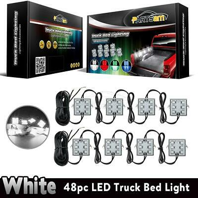 8pcs Pickup Truck Bed 48 White LED Light strips Kit for Dodge Ram 1500 2500 3500