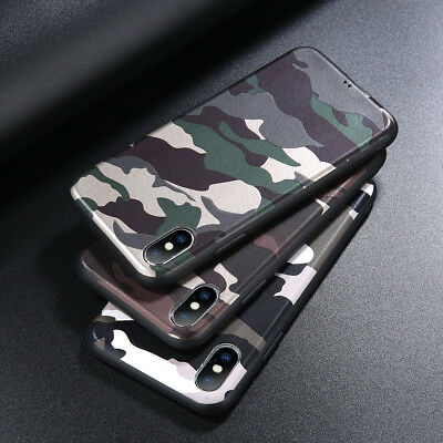 - Slicone Rubber Camouflage Pattern Skin Armor Case Cover For iPhone X 8 7 6 Plus