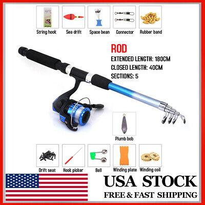 1.8m Telescopic Carp Fishing Rod and Reel Combo Full Kit Pole Spinning Reel US