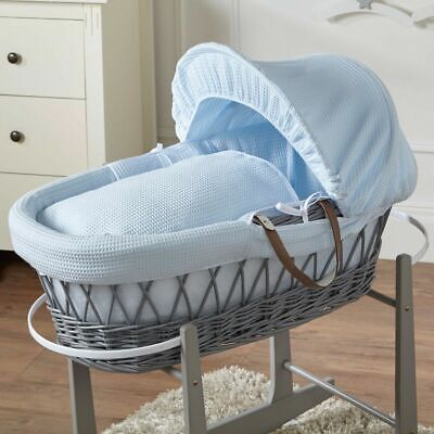 Blue Waffle Grey Wicker Moses Basket, used for sale  Shipping to South Africa