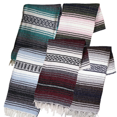 """Two (2) Falsa Blankets - Authentic Mexican 74"""" x 50"""" Random colors"""
