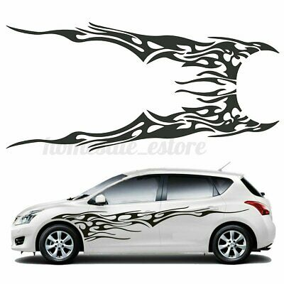 2Pcs 6.91x1.58ft Car Body Flame Decal Vinyl Graphics Side Stickers Waterproof