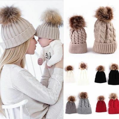 2 Pcs Mother & Child Baby Warm Winter Knit Beanie Fur Pom Hat Crochet Ski Cap