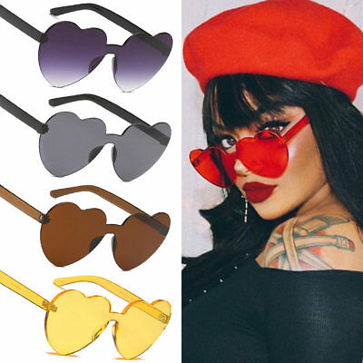 Ladies New Style Red Heart-shaped Rimless Frame Sunglasses UV400 Glasses (Red Heart Shaped Sunglasses)