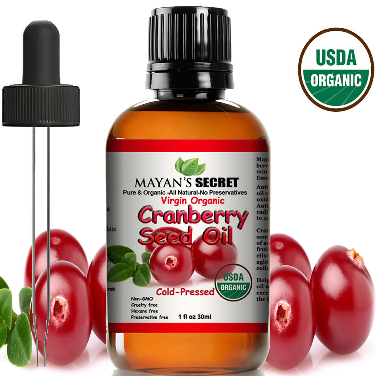 Cranberry Seed Oil -Virgin Organic USDA Certified Cold Pressed Anti-Aging Secret Anti-Aging Products