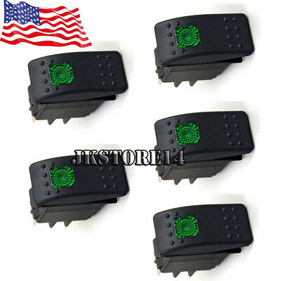 5xwaterproof Marine Boat Car Rocker Switch 12v Spdt On-off 4 Pin Green Led Light