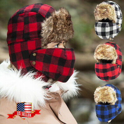 Buffalo Plaid Aviator Trapper With Mask Hat Winter Cap Ski Warm Fur Cap Buffalo Plaid Hat