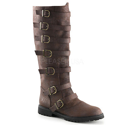 Brown Renaissance Fair Steampunk Pirate Firefly Road Warrior Mens Buckled - Mens Brown Pirate Boots