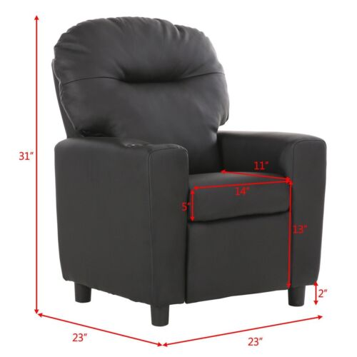 Kids Children PU Leather Recliner Sofa Arm Chair Seat with C