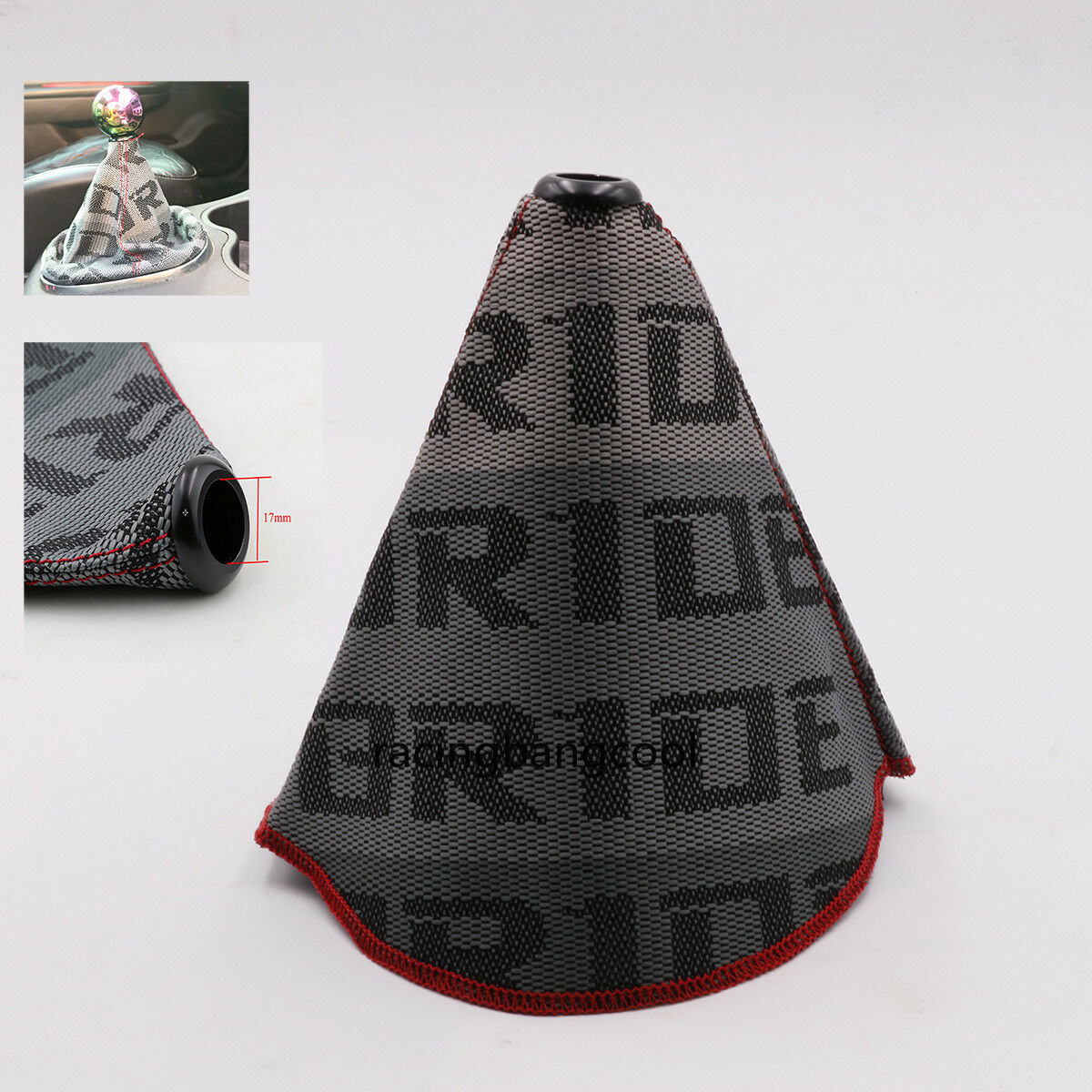 Racing Bride Grey Hyper Fabric Shift Boot Shift Knob Cover for Universal Car