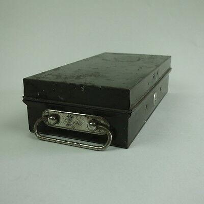 Vintage CREAM CITY Metal Green Painted Bank Safety Deposit Box Desk Storage