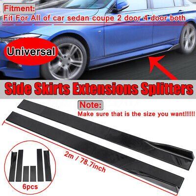 Universal Car Side Skirt Extension Rocker Panel Splitters Lip For Honda BMW Audi