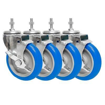 4 Pack 5 Inch Stem Caster Swivel W Side Brake Blue Pu Heavy Duty Caster Wheels