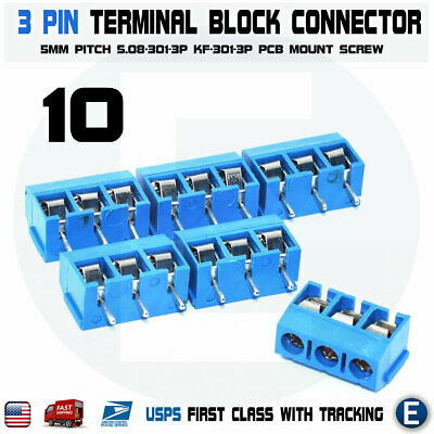 10pcs Kf301-3p 3 Pin Screw Blue Pcb Terminal Block Connector 5mm Pitch
