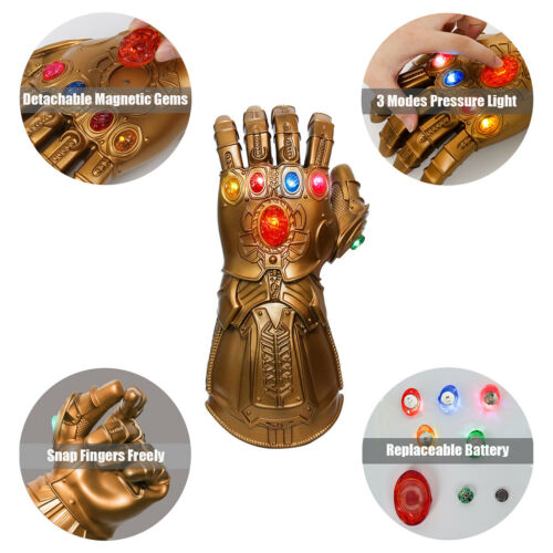 LED Gloves Thanos Infinity Gauntlet Avengers Endgame Stone Removable PropCosplay