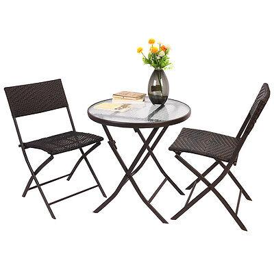 Patio Furniture Folding 3PC Fare Chair Set Bistro Style Backyard Ratten