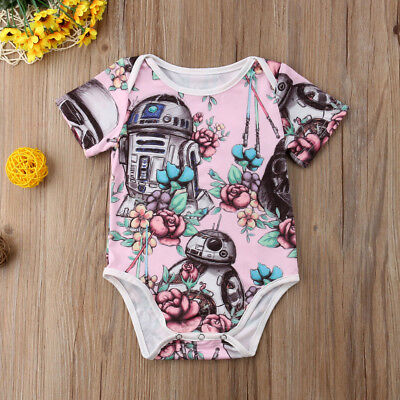 US Stock Newborn Baby Girl Star Wars Romper Pink Bodysuit Sunsuit Summer Clothes](Star Wars Babys)