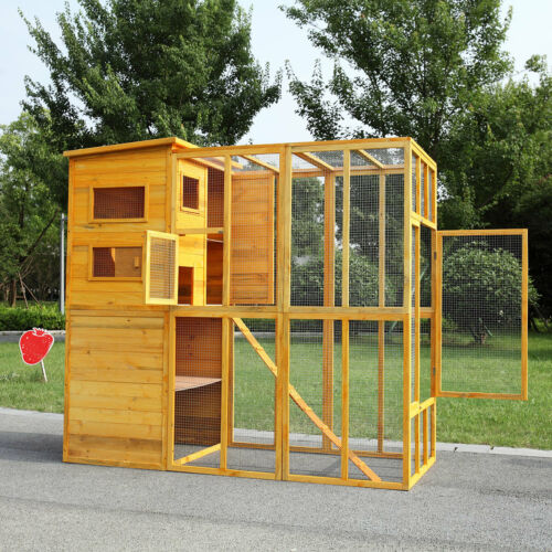Large Wood Outdoor Cat Enclosure Animal Catio Cage Run House w/ Outside Shelter