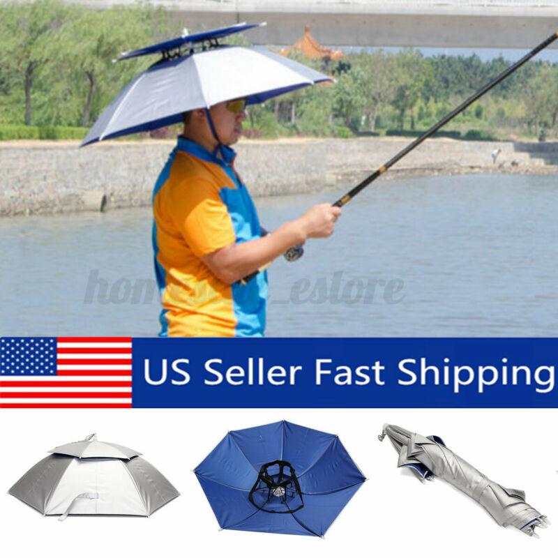 "30"" Foldable Head Umbrella Hat Cap Double Outdoor Sun Headwear Fishing Camping"