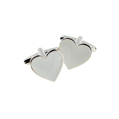 White Love Heart Cufflinks - Heart White Cufflinks