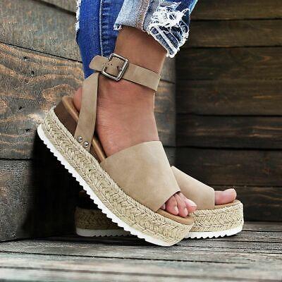 New Women's Peep Toe Ankle Strap Espadrille Sandal Shoe Med
