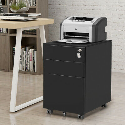 Metal Cabinet 3 Drawer Office Storage Chest Lockable Filing Pedestal A4 Rolling