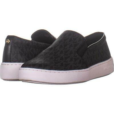 MICHAEL Michael Kors MK Signature Keaton Slip On Sneakers 727, Black, 7.5 US /