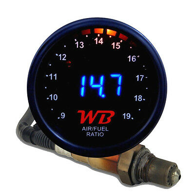 APSX V2 Anti-Glare D2 Digital Wideband O2 AFR Gauge & Sensor Kit Black & BLUE