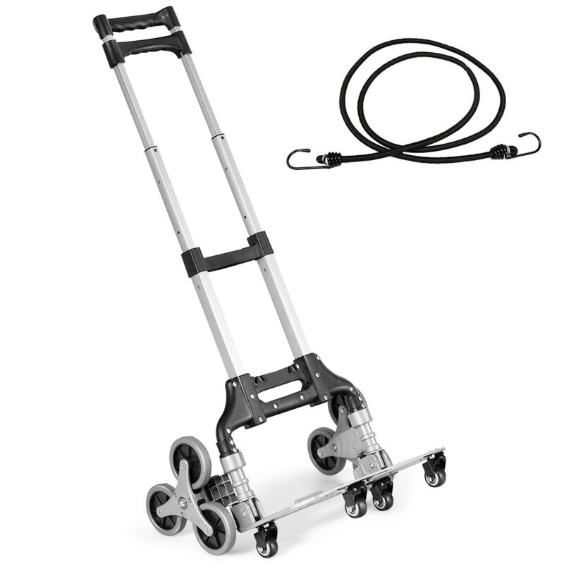 Folding Stair Climbing Cart Portable Hand Truck Utility Dolly w/ Bungee Cord