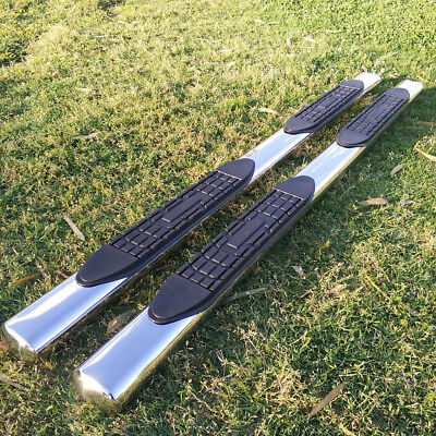 Fit 09 14 Ford F150 Super Crew Cab 4  Running Boards Side Step Nerf Bar S S Oval