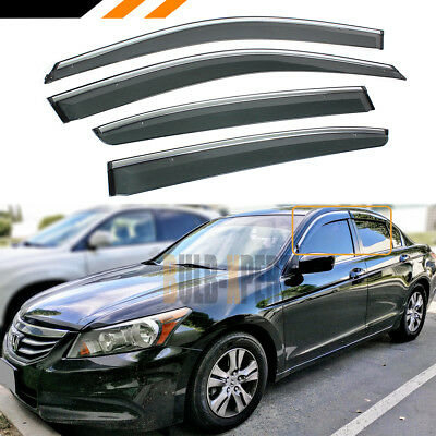 FOR 08-12 HONDA ACCORD 4DR CHROME TRIM CLIP ON WINDOW VISOR RAIN GUARD DEFLECTOR, used for sale  La Puente