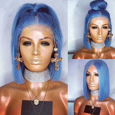 10-16'' Women Light Blue Lace Front Wig Fashion Synthetic Hair Bob Straight Wigs (Light Blue Wigs)