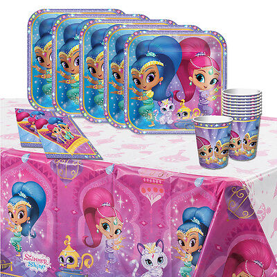 Shimmer and Shine Girl's Children's Birthday Party Tableware Pack Kit For 16