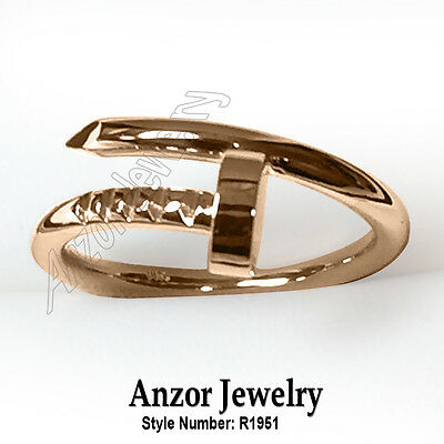 14k Solid Rose Gold Swirl Nail Ring Style #R1951.