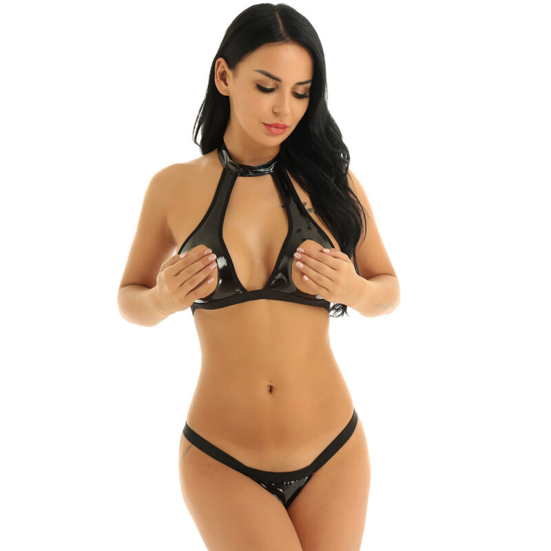 Womens Wet Look PU Leather Cupless Bra Hollow Out Crop Top G-string Lingerie Set
