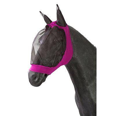 PFIFF Fliegenmaske für Pferde - pink - Vollblut Fliegen Maske Haube Fliegenhaube