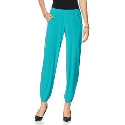 Slinky Brand Women's Plus Size Solid Knit Stretch Harem Pants Pull On Green/Blue Knit Harem Pants